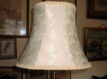 "VINTAGE SMALL OVAL SATIN BRAIDED CREAM BROCADE LAMPSHADE 9.5"" HIGH"